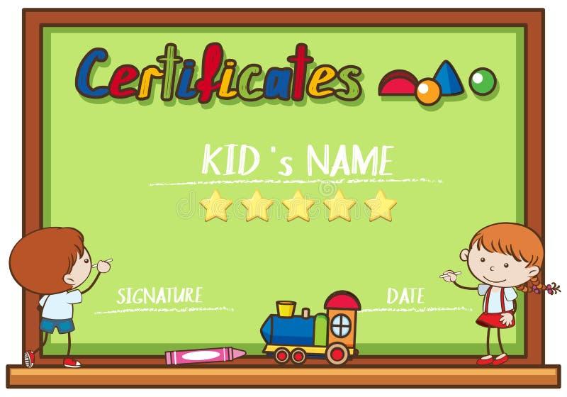Шаблон сертификата при дети писать на борту бесплатная иллюстрация