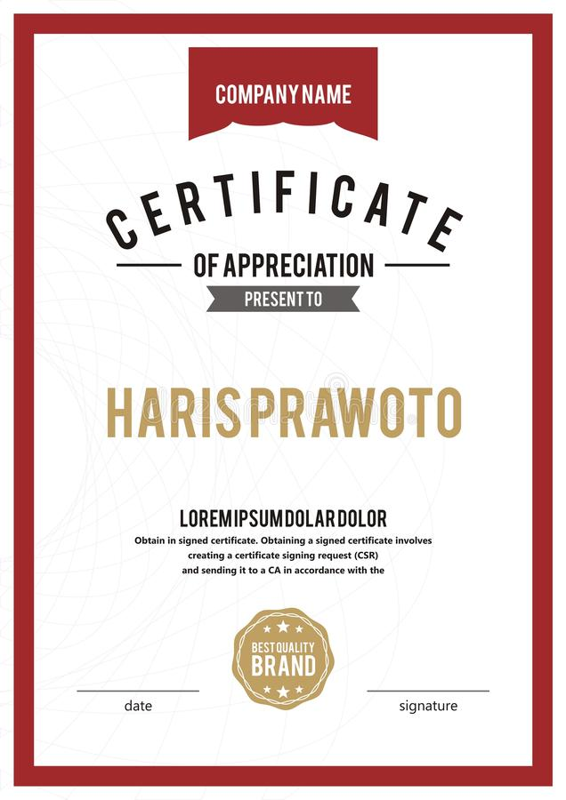 Шаблон сертификата Соответствующий для вашей компании Улучшите вашу видимость Профессиональный и эффективный шаблон сертификата e иллюстрация вектора