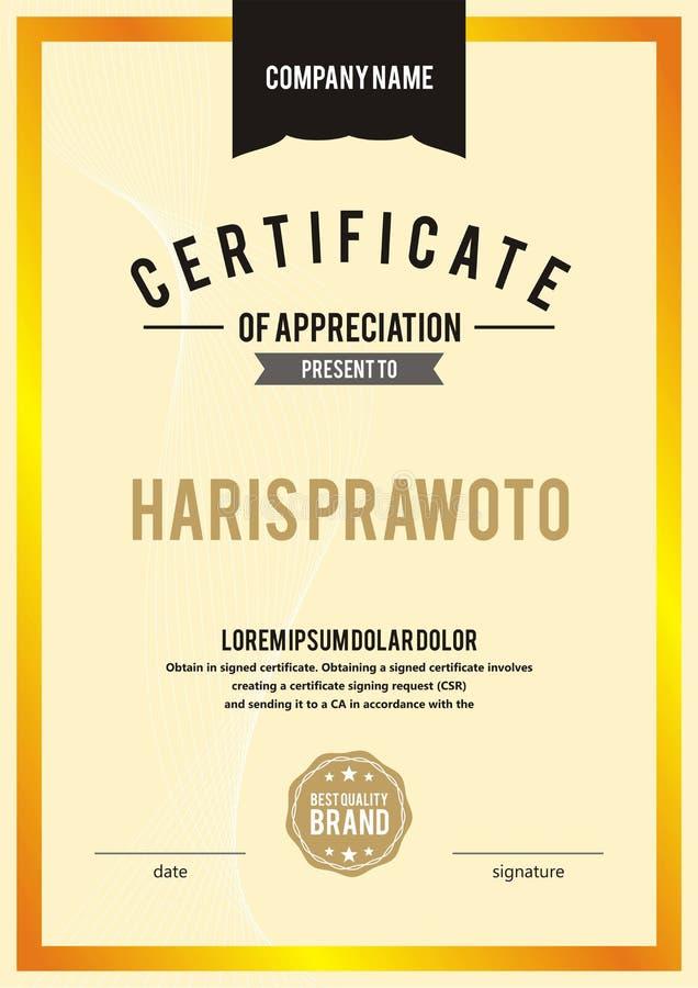 Шаблон сертификата Соответствующий для вашей компании Улучшите вашу видимость Профессиональный и эффективный шаблон сертификата e иллюстрация штока