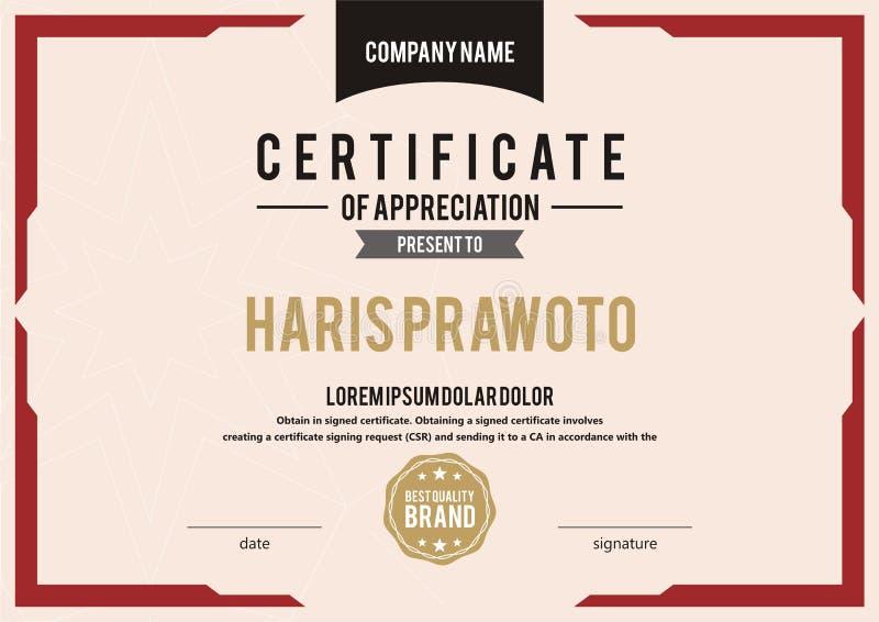 Шаблон сертификата Соответствующий для вашей компании Улучшите вашу видимость Профессиональный и эффективный шаблон сертификата e бесплатная иллюстрация