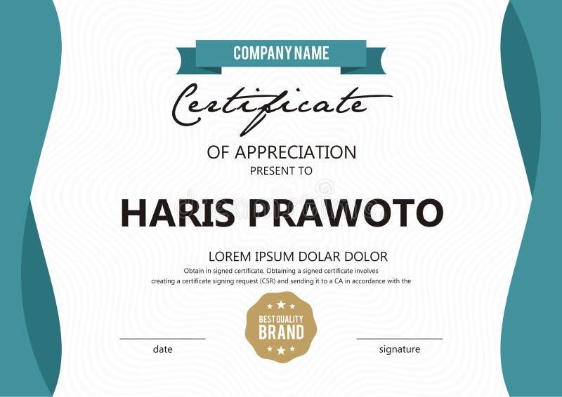 Шаблон сертификата Соответствующий для вашей компании Улучшите вашу видимость Профессиональный и эффективный логотип Editable цве стоковая фотография rf