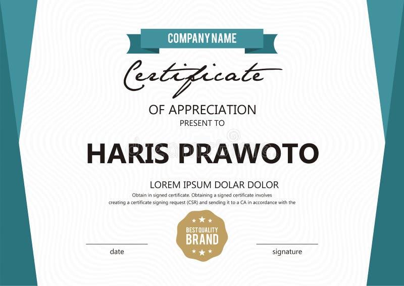 Шаблон сертификата Соответствующий для вашей компании Улучшите вашу видимость Профессиональный и эффективный логотип Editable цве стоковые изображения rf