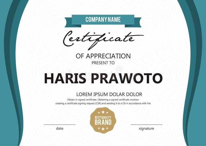 Шаблон сертификата Соответствующий для вашей компании Улучшите вашу видимость Профессиональный и эффективный логотип Editable цве стоковые фотографии rf