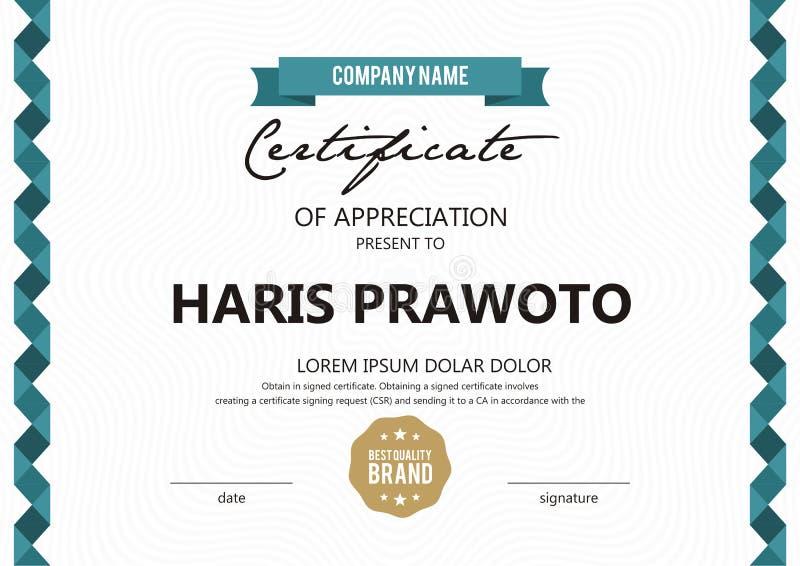 Шаблон сертификата Соответствующий для вашей компании Улучшите вашу видимость Профессиональный и эффективный логотип Editable цве стоковое фото