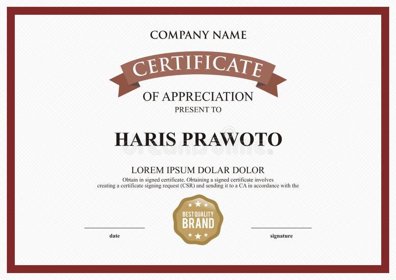 Шаблон сертификата Соответствующий для вашей компании Улучшите вашу видимость Профессиональный и эффективный логотип Editable цве стоковая фотография
