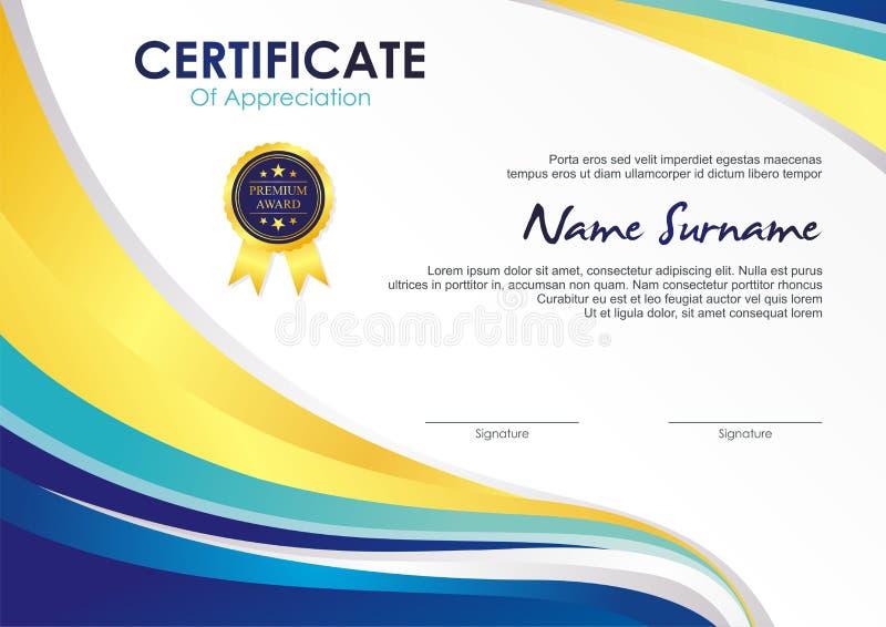 Шаблон сертификата со стильным дизайном волны бесплатная иллюстрация