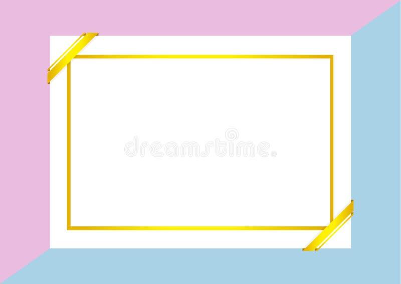 Шаблон сертификата с золотой рамкой на пурпурных голубых пастельных цветах, пустой сертификат a4 обрамляет на плоских положенных  иллюстрация вектора