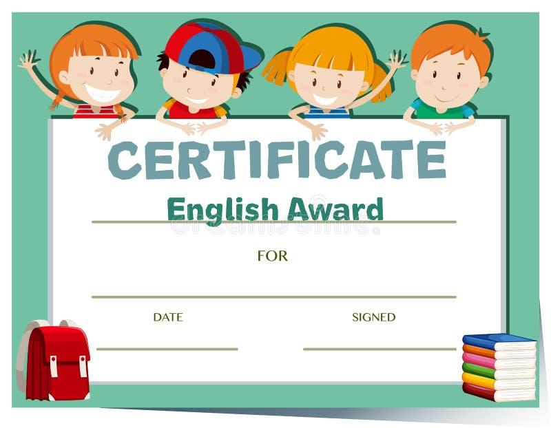 Шаблон сертификата с счастливыми детьми иллюстрация вектора
