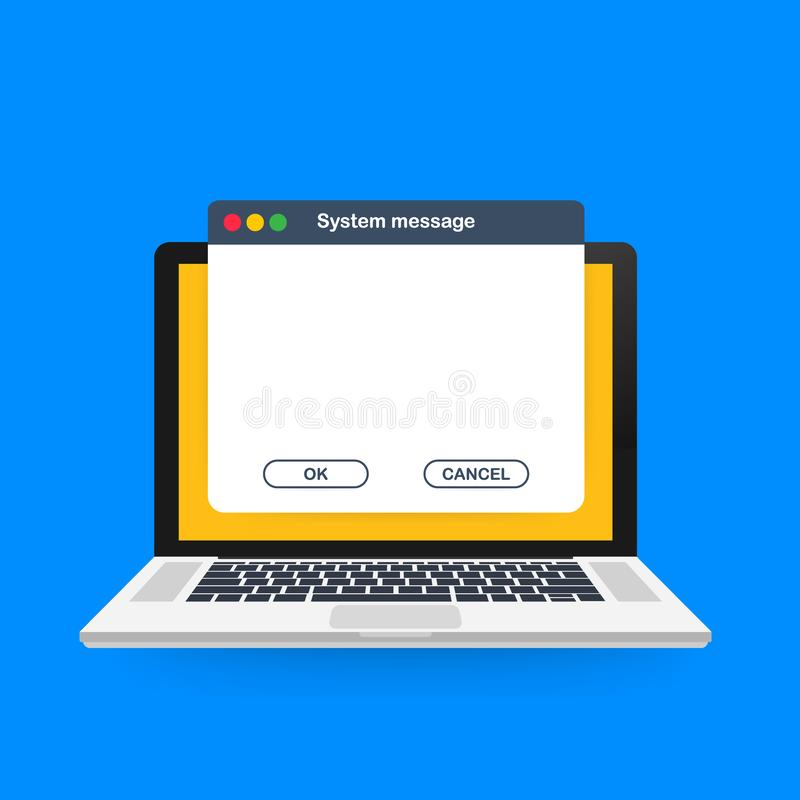 Шаблон сообщения операционной системы старой школы Классический элемент пользовательского интерфейса компьютера с кнопками ОК и о иллюстрация штока