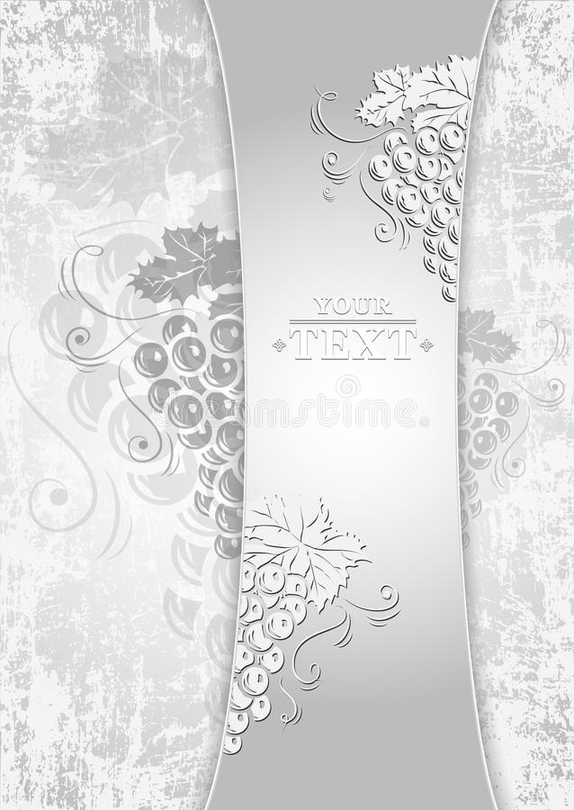 Шаблон со связками винограда для дизайна вина Шаблон дизайна вина иллюстрация вектора