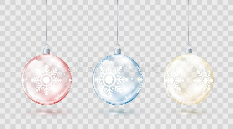 Шаблон стеклянных прозрачных шариков рождества Украшения рождества элемента Сияющие красочные игрушки с золотыми красным цветом и иллюстрация штока