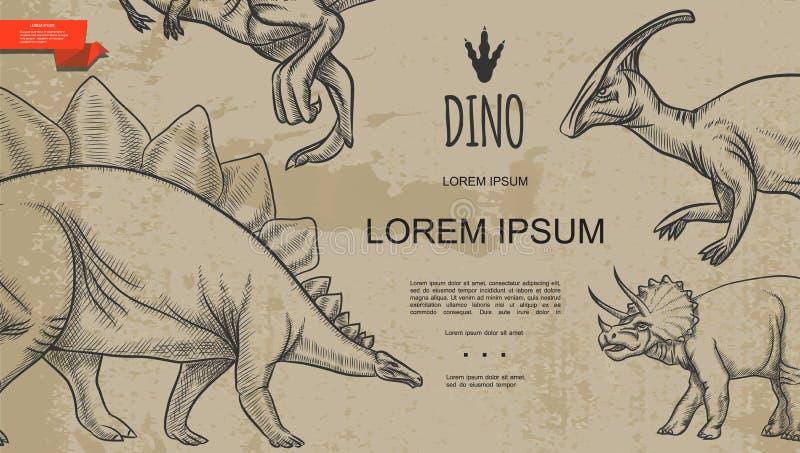 Шаблон стиля винтажных динозавров Monochrome бесплатная иллюстрация