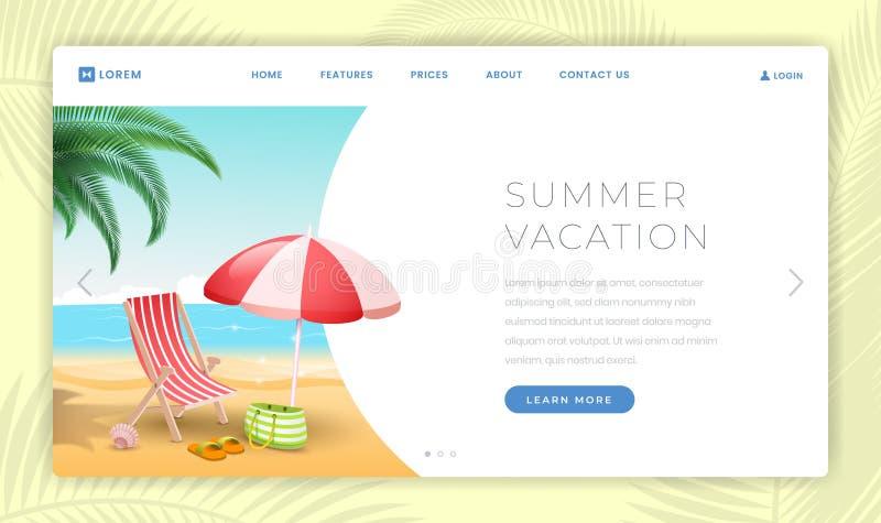 Шаблон страницы каникул летнего времени приземляясь Морской курорт с песчаным пляжем, deckchair и зонтиком E иллюстрация штока