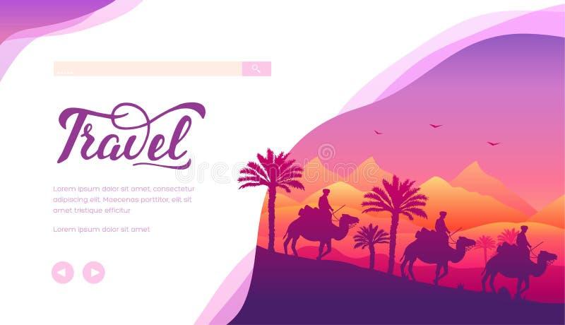 Шаблон страницы посадки вектора путешествия прогулки верблюда бесплатная иллюстрация
