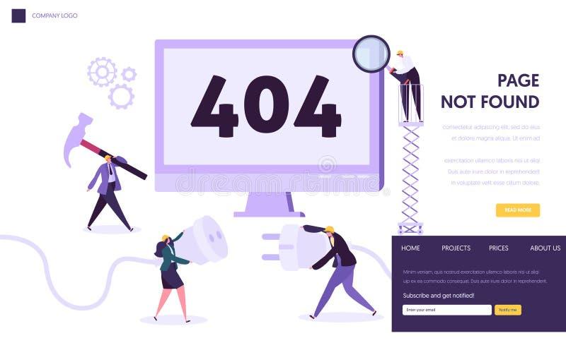 Шаблон страницы посадки ошибки обслуживания 404 Страница не нашла под концепцией конструкции с характерами фиксируя проблему бесплатная иллюстрация