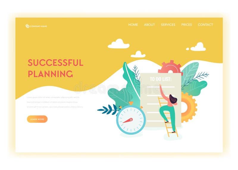 Шаблон страницы посадки планирования бизнеса и стратегии Женщина Busibess с контрольным списоком для интернет-страницы или вебсай иллюстрация штока