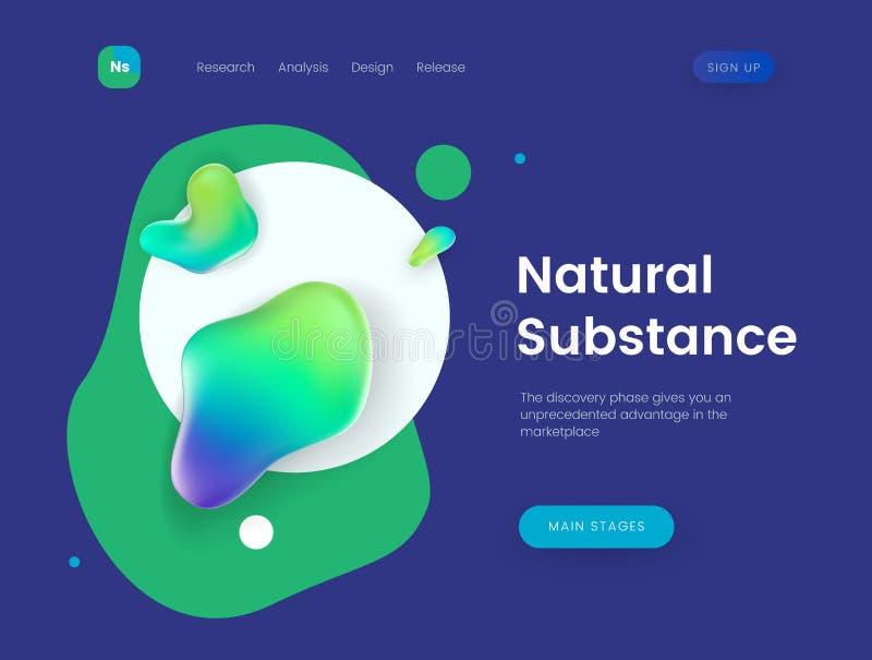 Шаблон страницы посадки с голубой предпосылкой и абстрактными жидкостными формами - естественное вещество, можно использовать для бесплатная иллюстрация