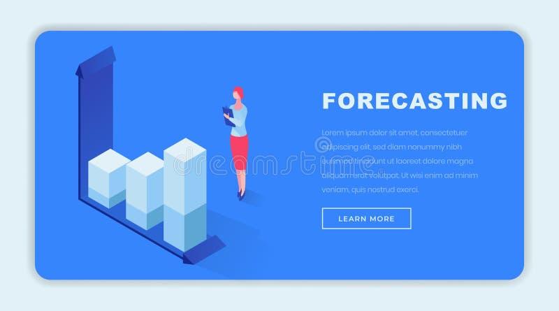 Шаблон страницы прогнозирования дела равновеликий приземляясь Женский специалист по маркетингу анализируя статистические данные,  иллюстрация вектора