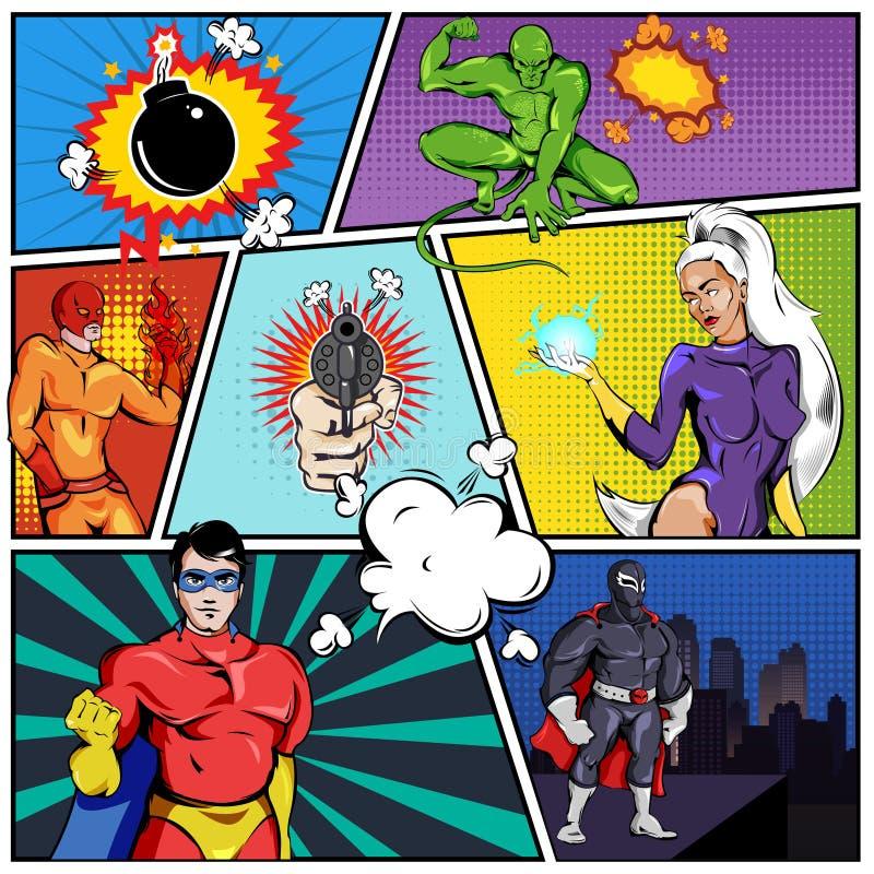 Шаблон страницы супергероев шуточный бесплатная иллюстрация