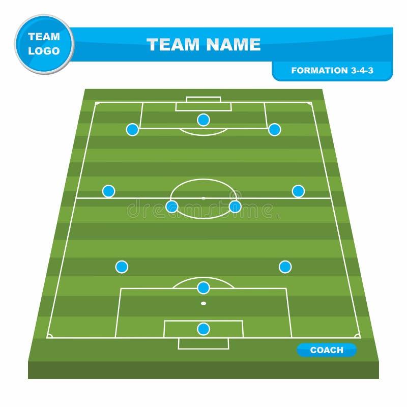 Шаблон стратегии образования футбола футбола с полем 3-4-3 перспективы иллюстрация вектора