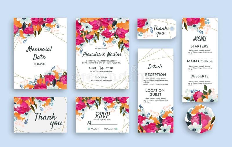 Шаблон сюиты свадьбы украшает с красивым понижает Включая мемориальную карту даты, карта приглашения, меню свадьбы иллюстрация вектора