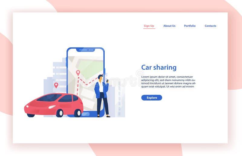 Шаблон с автомобилем, положение вебсайта обслуживания публикации автомобиля человека около гигантского смартфона с картой города  иллюстрация штока