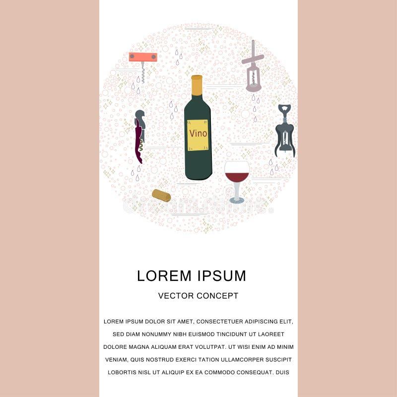 Шаблон с бутылками штопора и вина вокруг состава с текстом иллюстрация штока