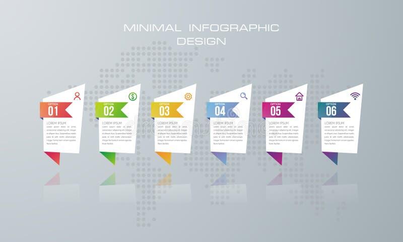 Шаблон с 6 вариантами, вариант Infographic знамени для infographic бесплатная иллюстрация