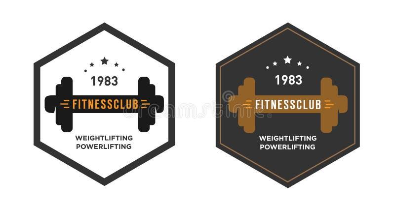 Шаблон с гантелью, эмблема логотипа спортзала, ярлык, крышка бесплатная иллюстрация