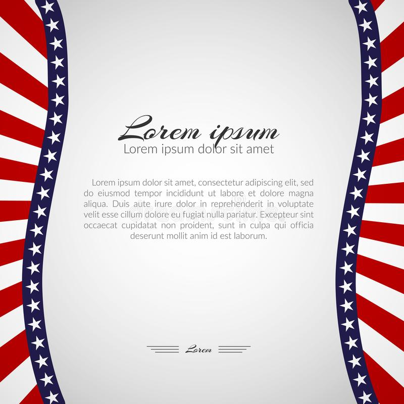 Шаблон с картиной звезд и волнистых нашивок цветов национального флага предпосылки США патриотической на праздники иллюстрация штока