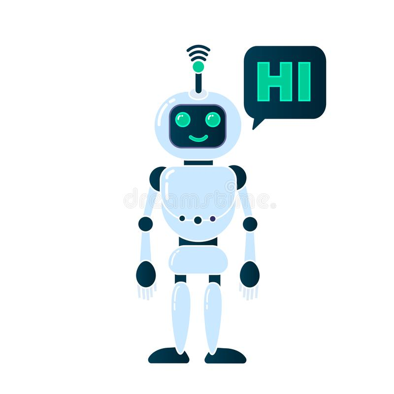 Robot innovation technology. Science science fiction design 3d vector illustration. Smiling chatbot helping solve problems. greeting is moving. vector vector illustration