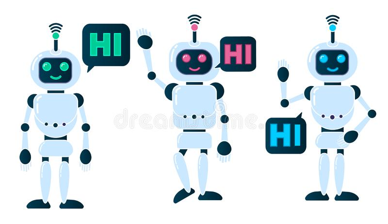 Robot innovation technology. Science science fiction design 3d vector illustration. Smiling chatbot helping solve problems. greeting is moving. vector stock illustration