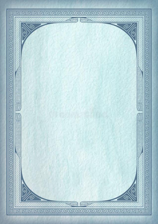 Шаблон с ретро рамками сини военно-морского флота и дипломом литерности бесплатная иллюстрация
