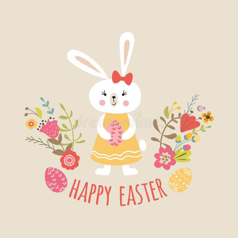 Шаблон с яйцами, цитата пасхи милого зайчика кролика девушки счастливый весны знамени дизайна цветков типографская иллюстрация вектора