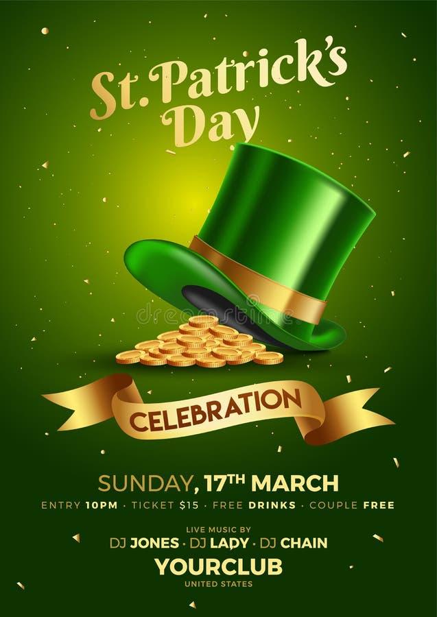 Шаблон торжества дня St. Patrick или дизайн летчика бесплатная иллюстрация