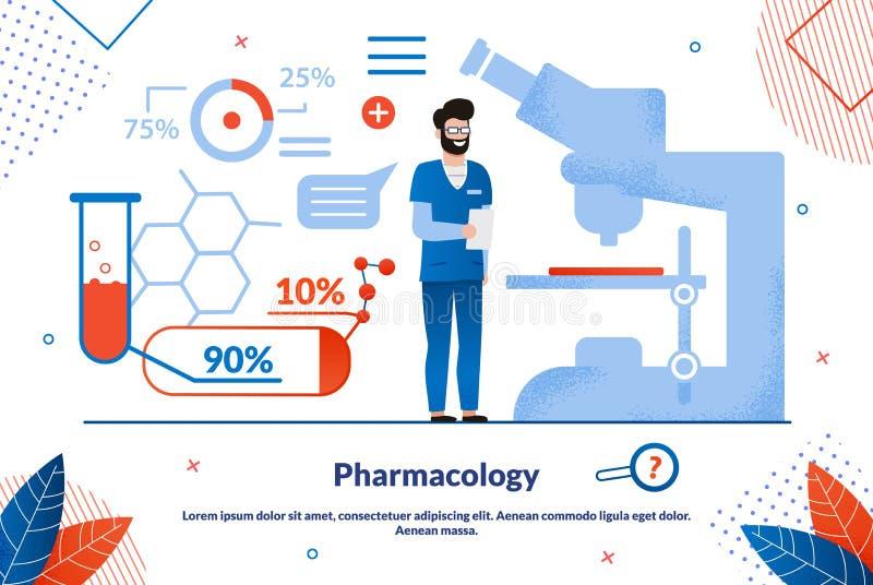 Шаблон транскрипта векторного баннера фармакологии иллюстрация штока
