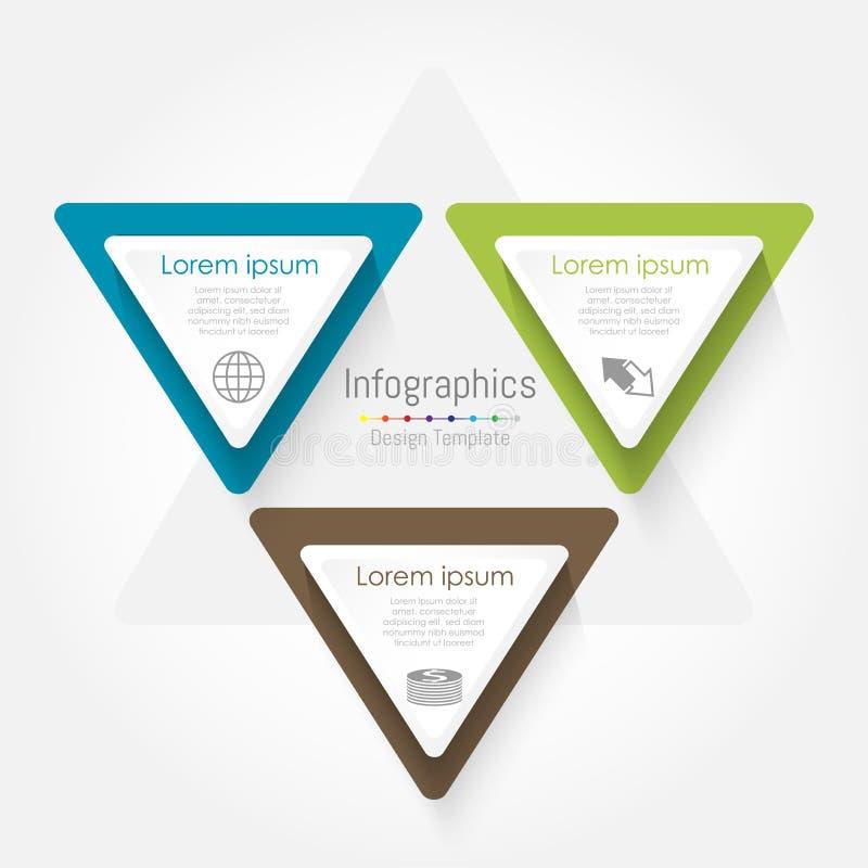 Шаблон треугольника вектора infographic Концепция дела с 3 вариантами, частями, шагами или процессами бесплатная иллюстрация