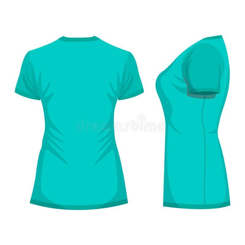 Шаблон футболки женщины бирюзы в задней части и взглядах со стороны иллюстрация вектора