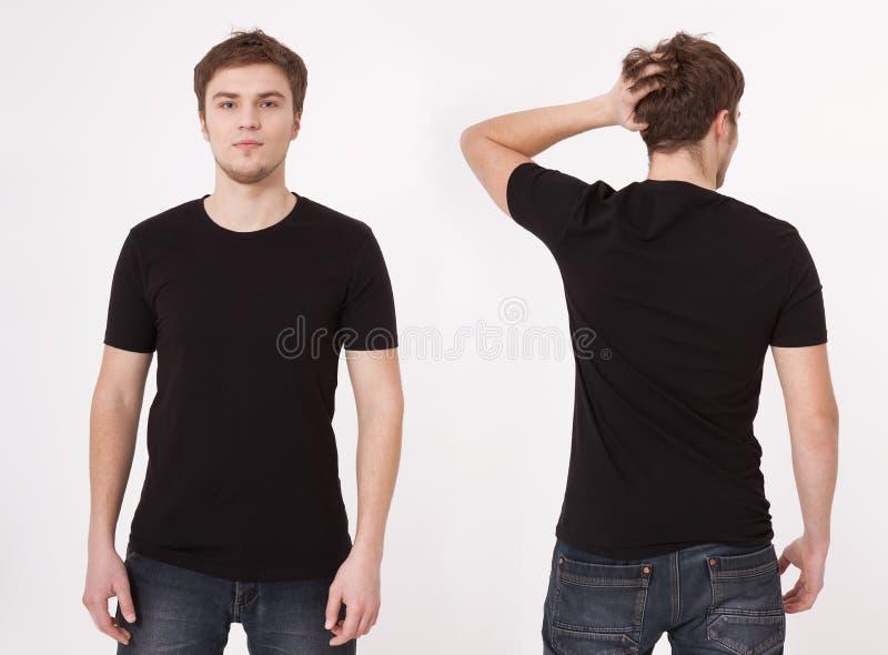 Шаблон футболки Задняя часть и вид спереди Насмешка вверх изолированная на белой предпосылке стоковые фотографии rf