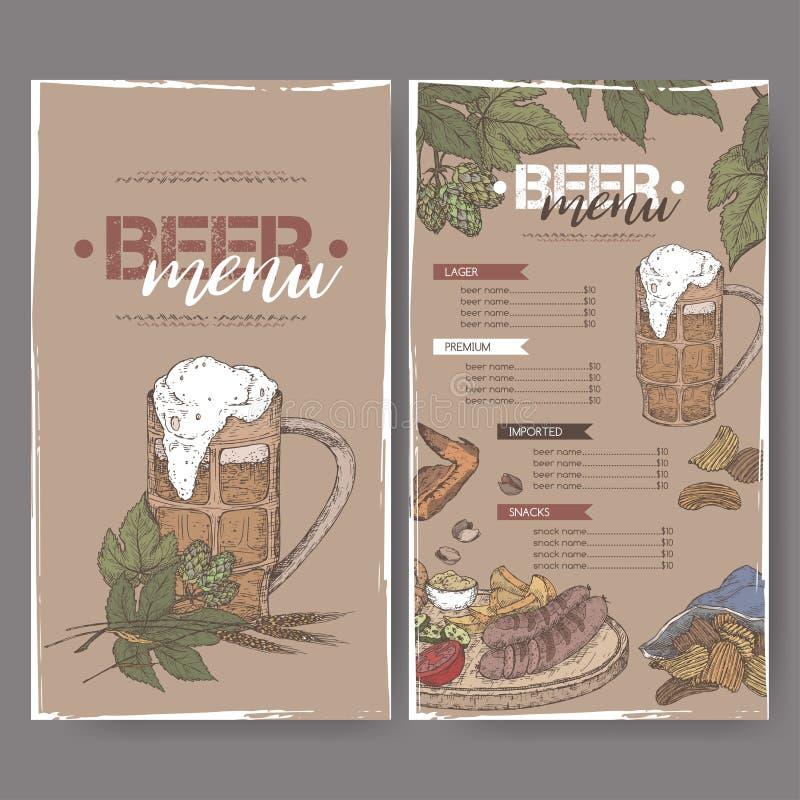Шаблон цвета меню пива с кружкой пива, ветвью хмеля, пшеницей, обломоками, гайками, крылами цыпленка и плитой закуски иллюстрация вектора