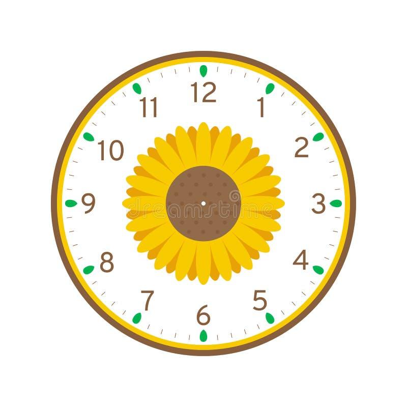 Шаблон циферблата солнцецвета Printable иллюстрация штока