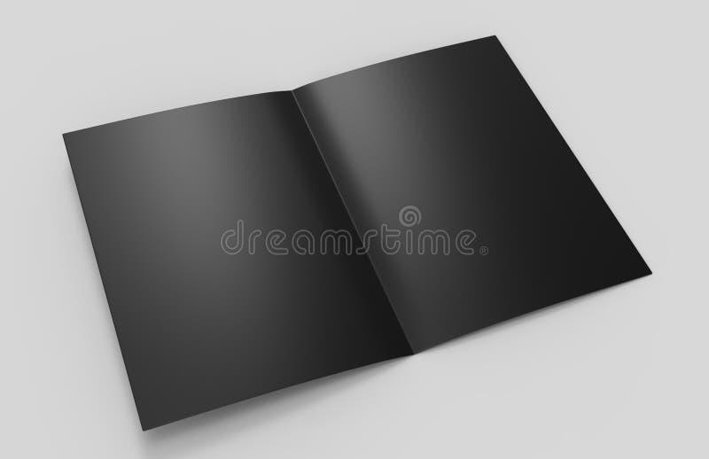 Шаблон черноты пробела брошюры полу-створки A3 для насмешки поднимающей вверх и дизайна представления иллюстрация 3d иллюстрация штока