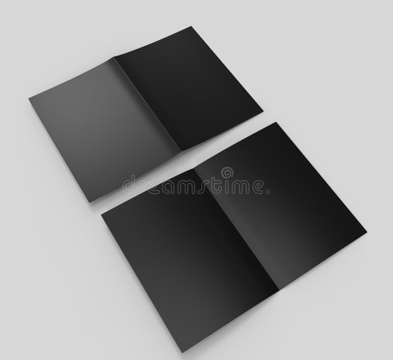 Шаблон черноты пробела брошюры полу-створки A3 для насмешки поднимающей вверх и дизайна представления иллюстрация 3d бесплатная иллюстрация