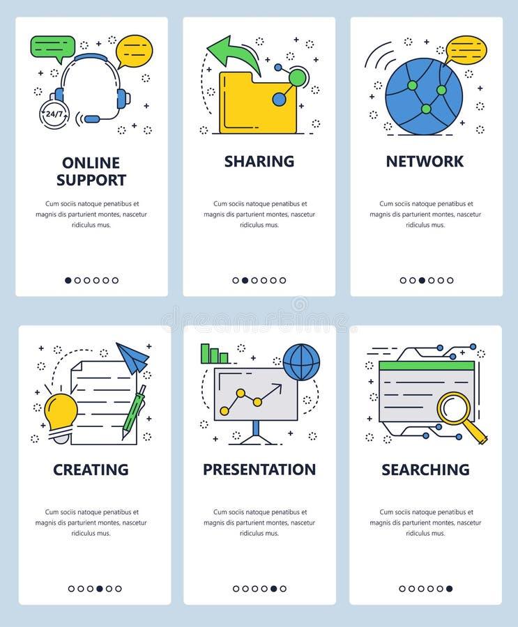 Шаблон экранов линейного искусства вебсайта вектора onboarding Интернет-обслуживания, обмен данными, ища и создаваясь иллюстрация штока