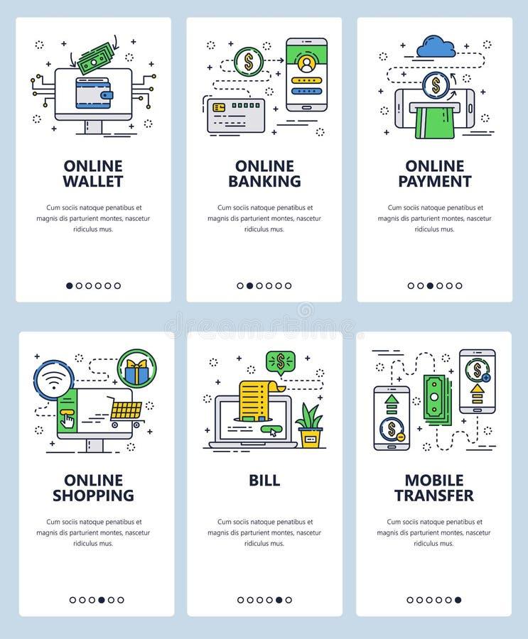 Шаблон экранов линейного искусства вебсайта вектора onboarding Онлайновые службы финансов и банка Мобильные оплаты и деньги иллюстрация вектора