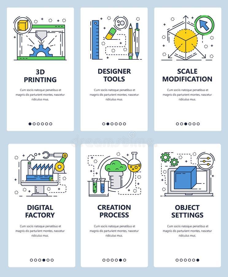 Шаблон экранов линейного искусства вебсайта вектора onboarding печатание 3D и дизайнерские инструменты Знамена меню для вебсайта  иллюстрация штока