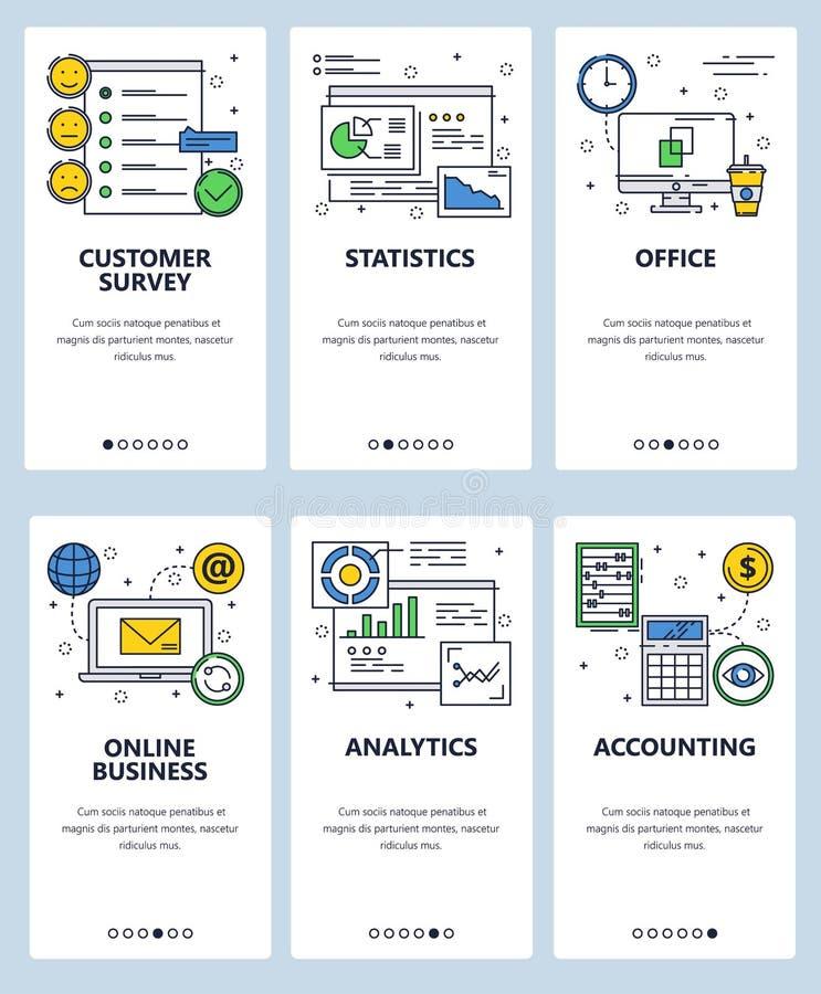 Шаблон экранов линейного искусства вебсайта вектора onboarding Финансы дела и аналитик, опрос потребителей Знамена меню иллюстрация вектора
