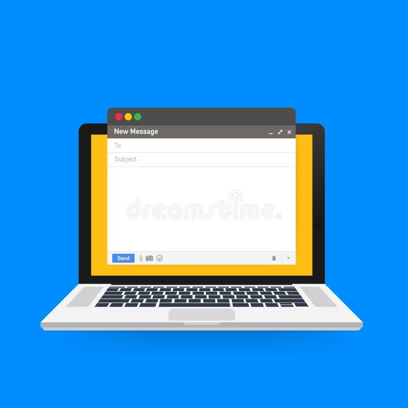 Шаблон электронной почты Пустое окно браузера электронной почты  также вектор иллюстрации притяжки corel иллюстрация вектора