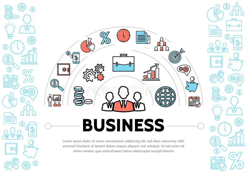Шаблон элементов руководства бизнесом и финансов иллюстрация штока