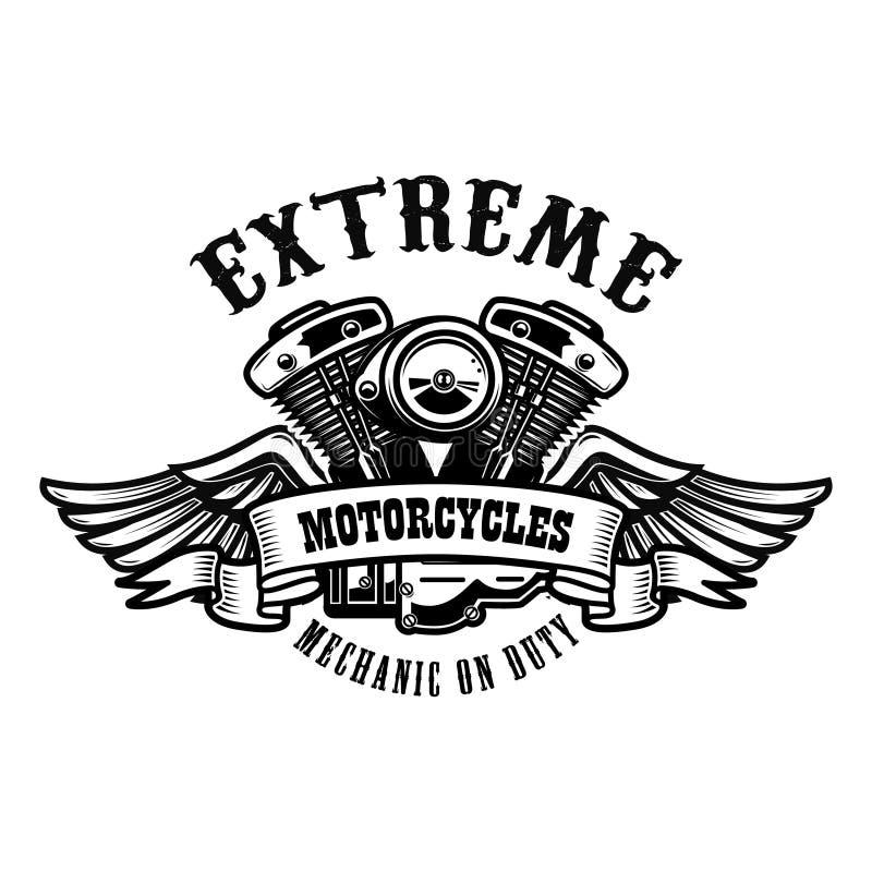 Шаблон эмблемы с, который подогнали мотором мотоцикла Конструируйте элемент для плаката, логотипа, ярлыка, знака, футболки бесплатная иллюстрация